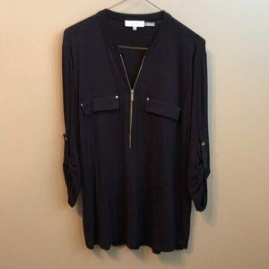 CALVIN KLEIN Black Long Sleeve Blouse w/ Zipper
